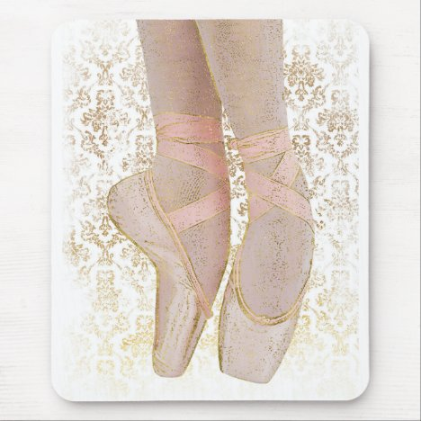 Ballet Toe Shoes - Pink Gold White Mouse Pad