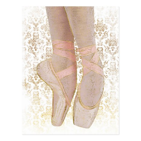 Ballet Toe Shoes - Pink Gold White Postcard