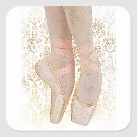 Ballet Toe Shoes - Pink Gold White Square Sticker