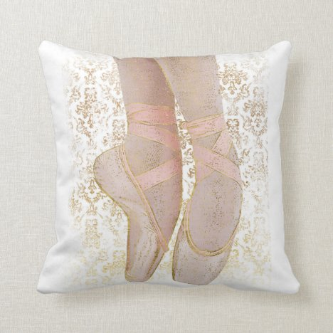 Ballet Toe Shoes - Pink Gold White Throw Pillow