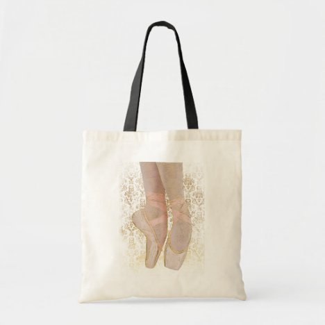 Ballet Toe Shoes - Pink Gold White Tote Bag