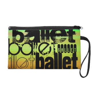 Ballet; Vibrant Green, Orange, & Yellow Wristlet Clutch
