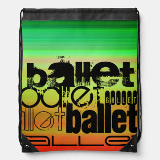 Ballet; Vibrant Green, Orange, & Yellow Cinch Bag