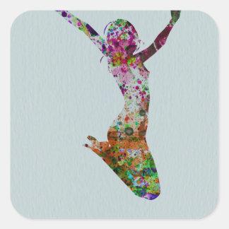 Ballette watercolor square sticker