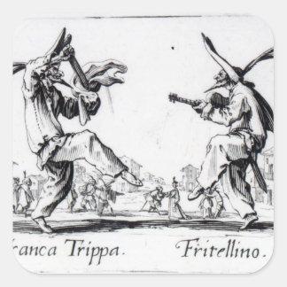Balli de Sfessania, c.1622 Pegatina Cuadrada