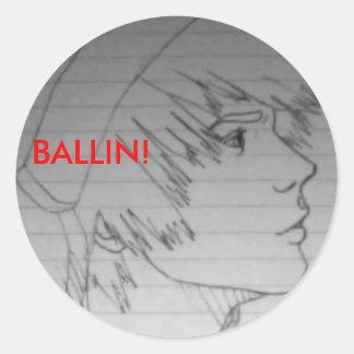 ¡BALLIN! muchacho casero Pegatina Redonda