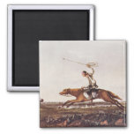 Balling Ostriches 2 Inch Square Magnet