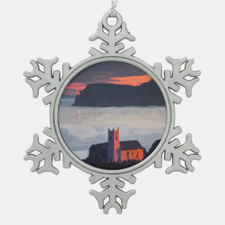 Ballintoy Church, Ireland at Sunset Snowflake Pewter Christmas Ornament