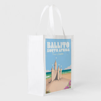 Ballito South Africa vintage beach travel poster Reusable Grocery Bags