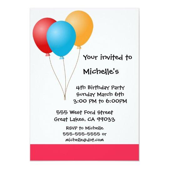 Ballon Birthday Party Invitation