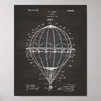 Balloon 1923 Patent Art Chalkboard Poster