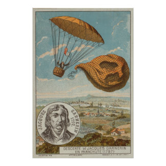 Balloon and parachute 1797 poster