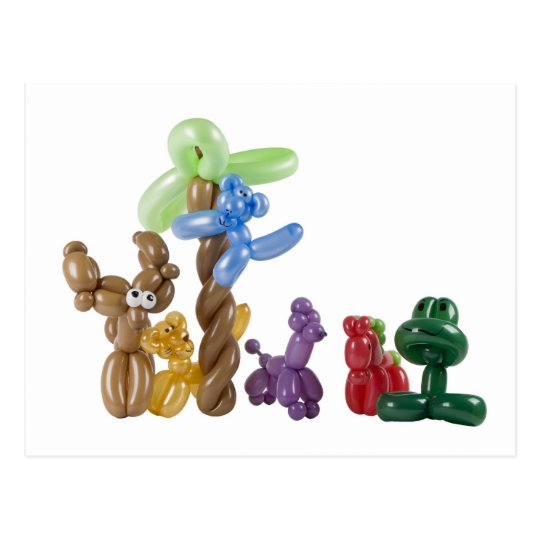 balloon animal group postcard