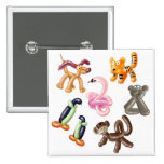 BALLOON ANIMAL PARTY 2 INCH SQUARE BUTTON
