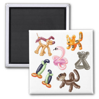 BALLOON ANIMAL PARTY 2 INCH SQUARE MAGNET