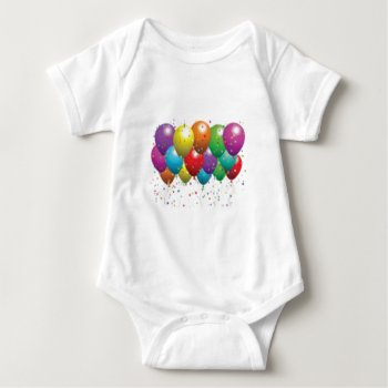 Balloon_birthday_card_customize-r11e61ed9b9074290b Baby Bodysuit by CREATIVEPARTYSTUFF at Zazzle