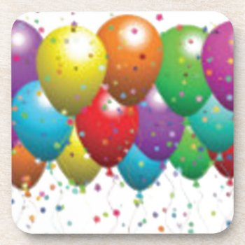 Balloon_birthday_card_customize-r11e61ed9b9074290b Beverage Coaster by CREATIVEPARTYSTUFF at Zazzle