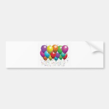 Balloon_birthday_card_customize-r11e61ed9b9074290b Bumper Sticker by CREATIVEPARTYSTUFF at Zazzle