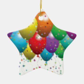 Balloon_birthday_card_customize-r11e61ed9b9074290b Ceramic Ornament by CREATIVEPARTYSTUFF at Zazzle