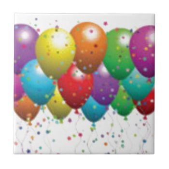 Balloon_birthday_card_customize-r11e61ed9b9074290b Ceramic Tile by CREATIVEPARTYSTUFF at Zazzle