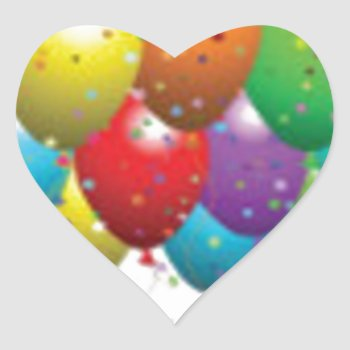 Balloon_birthday_card_customize-r11e61ed9b9074290b Heart Sticker by CREATIVEPARTYSTUFF at Zazzle
