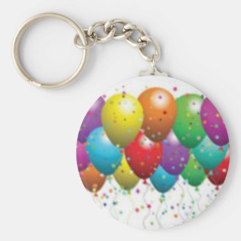 Balloon_birthday_card_customize-r11e61ed9b9074290b Keychain by CREATIVEPARTYSTUFF at Zazzle