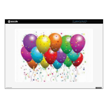 Balloon_birthday_card_customize-r11e61ed9b9074290b Laptop Decals by CREATIVEPARTYSTUFF at Zazzle