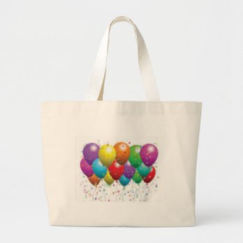 Balloon_birthday_card_customize-r11e61ed9b9074290b Large Tote Bag by CREATIVEPARTYSTUFF at Zazzle