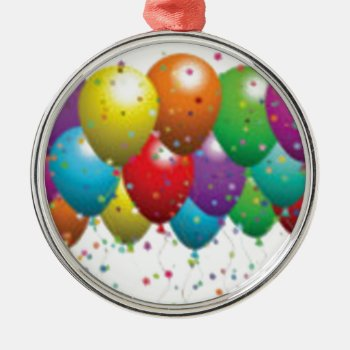 Balloon_birthday_card_customize-r11e61ed9b9074290b Metal Ornament by CREATIVEPARTYSTUFF at Zazzle