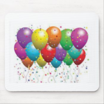 Balloon_birthday_card_customize-r11e61ed9b9074290b Mouse Pad by CREATIVEPARTYSTUFF at Zazzle