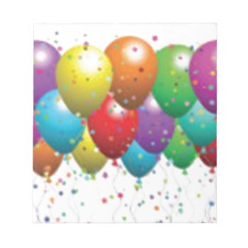 Balloon_birthday_card_customize-r11e61ed9b9074290b Note Pad by CREATIVEPARTYSTUFF at Zazzle