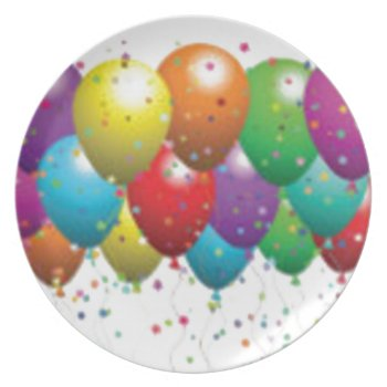 Balloon_birthday_card_customize-r11e61ed9b9074290b Plate by CREATIVEPARTYSTUFF at Zazzle