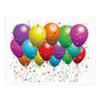Balloon_birthday_card_customize-r11e61ed9b9074290b Postcard by CREATIVEPARTYSTUFF at Zazzle