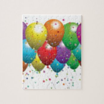 Balloon_birthday_card_customize-r11e61ed9b9074290b Puzzle by CREATIVEPARTYSTUFF at Zazzle