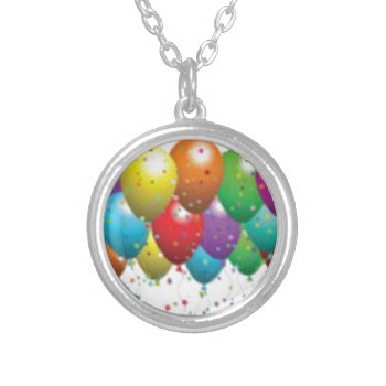 Balloon_birthday_card_customize-r11e61ed9b9074290b Round Pendant Necklace by CREATIVEPARTYSTUFF at Zazzle