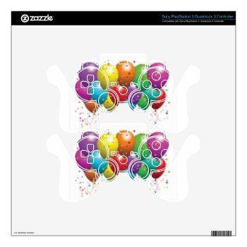 Balloon_birthday_card_customize-r11e61ed9b9074290b Skins For Ps3 Controllers by CREATIVEPARTYSTUFF at Zazzle