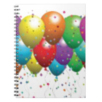 Balloon_birthday_card_customize-r11e61ed9b9074290b Spiral Notebook by CREATIVEPARTYSTUFF at Zazzle