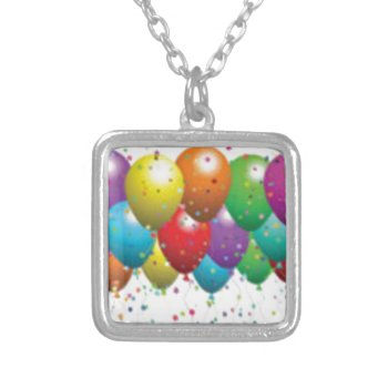 Balloon_birthday_card_customize-r11e61ed9b9074290b Square Pendant Necklace by CREATIVEPARTYSTUFF at Zazzle
