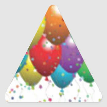 Balloon_birthday_card_customize-r11e61ed9b9074290b Triangle Sticker by CREATIVEPARTYSTUFF at Zazzle