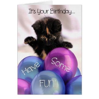 Balloon Birthday: Funny Kitten Birthday Card