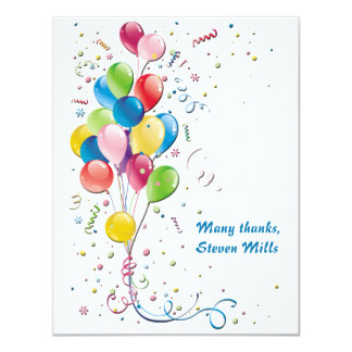 Balloon Bouquet Personalized Thank You Notecard 4.25x5.5 Paper Invitation Card