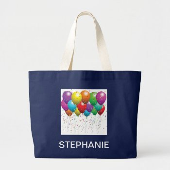 Balloon Canvas Tote  Navy    With  Name by creativeconceptss at Zazzle