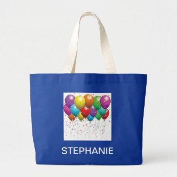 Balloon Canvas Tote Royal  With  Name by creativeconceptss at Zazzle