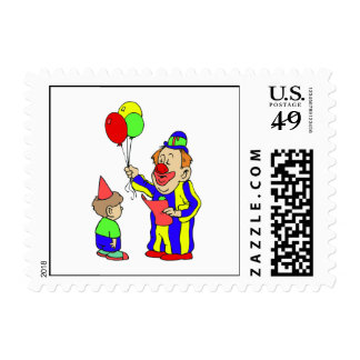 balloon clown & boy postage