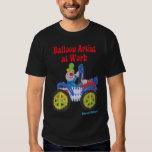 Balloon Clown in Car saying Balloon Artist at Work Tee Shirts