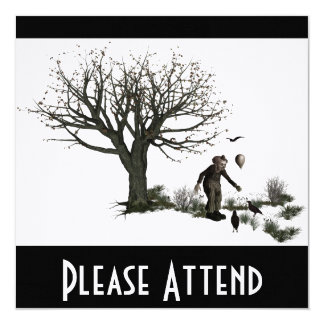 Balloon Clown Old Tree & Black Birds Original Invite