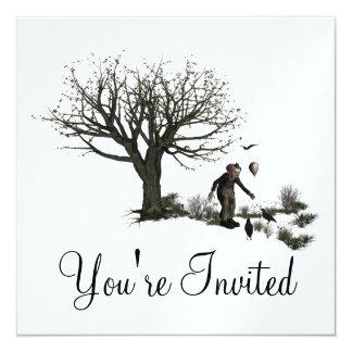 Balloon Clown Old Tree & Black Birds Original Personalized Invite