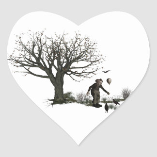 Balloon Clown Old Tree & Black Birds Original Heart Sticker