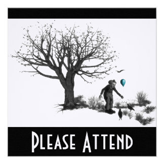 Balloon Clown Old Tree & Black Birds Turquoise Personalized Invite