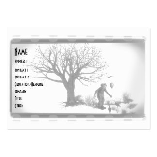 Balloon Clown & Ravens By Creepy Tree - B&W Large Business Cards (Pack Of 100)